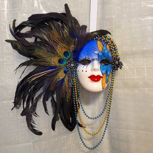 Ceramic Hand Painted Mardi Gras Mask with Ostrich Feathers & Beads - Wall Art